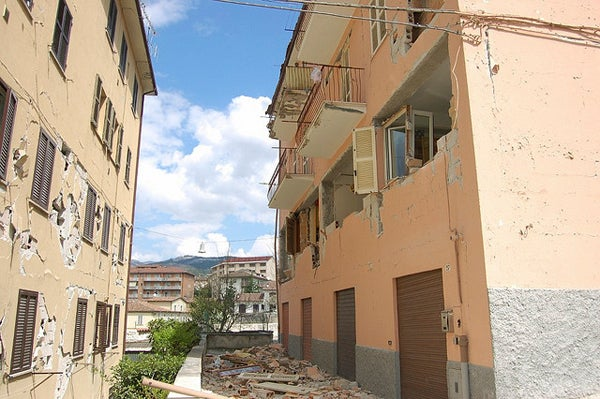 Apartment buildings in L'Aquila, Italy after the earthquake in 2009.