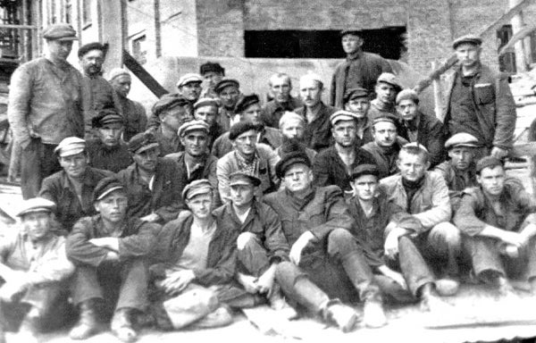 Estonian political prisoners in the Ivdel camp in Ural Mountains on Aug. 14, 1954