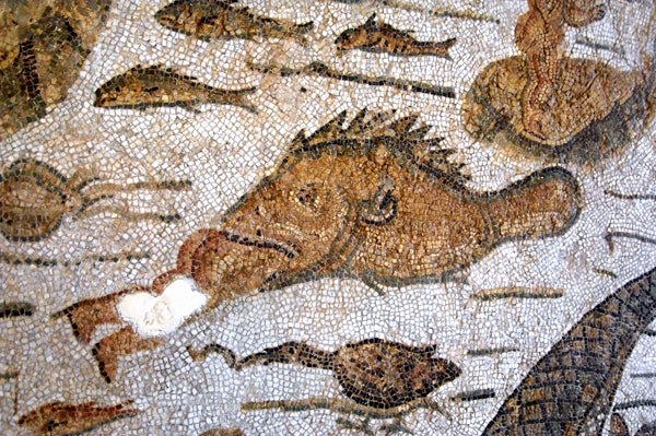 Mosaic showing a grouper eating a man