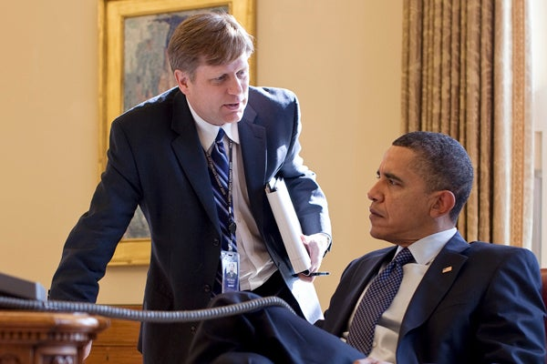 Michael McFaul in the Oval Office with President Barack Obama