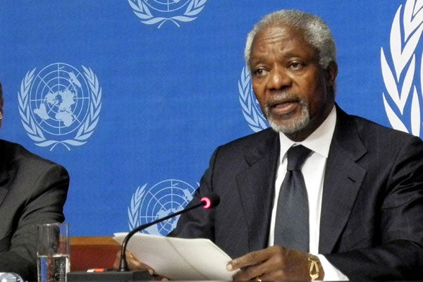 Kofi Annan, joint special envoy of the United Nations and the League of Arab States for Syria, speaks at a press conference in Geneva