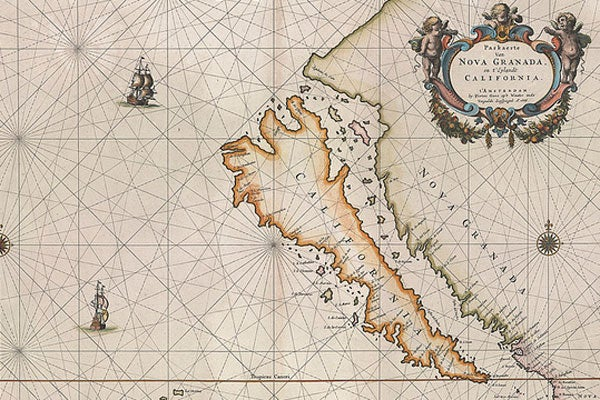 Historic maps depicting California as an island