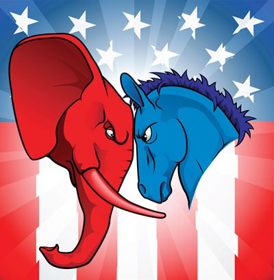 Illustration of GOP elephant and Democratic donkey butting heads