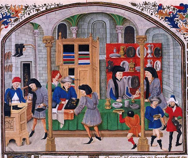 A depiction of a medieval market