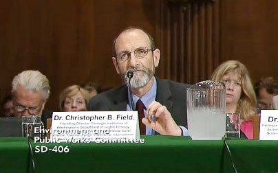 Chris Field testifying before the Senate Committee