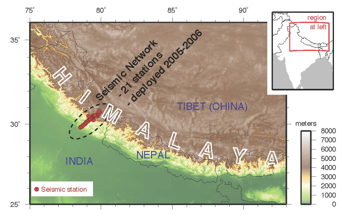 The Main Himalayan Thrust has historically been responsible for a magnitude 8 to 9 earthquake every several hundred years.