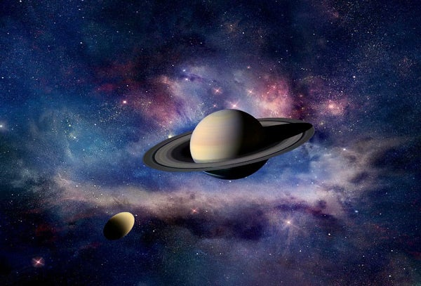 Artist's depiction of Saturn and its moon Titan.