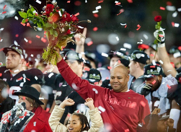 Stanford head coach David Shaw and others celebrate winning the Pac-12 Championship and earning the trip to the Rose Bowl Game