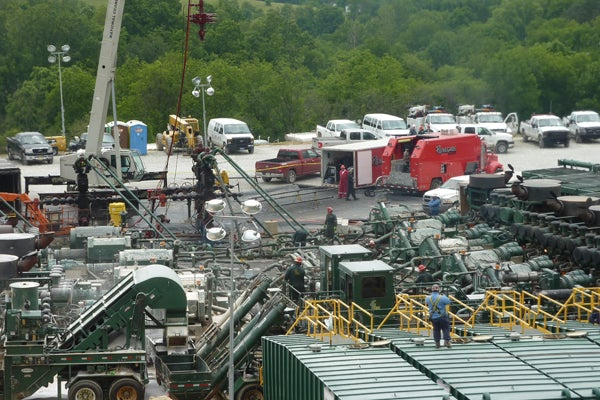 A hydraulic fracturing operation under way in western Pennsylvania.