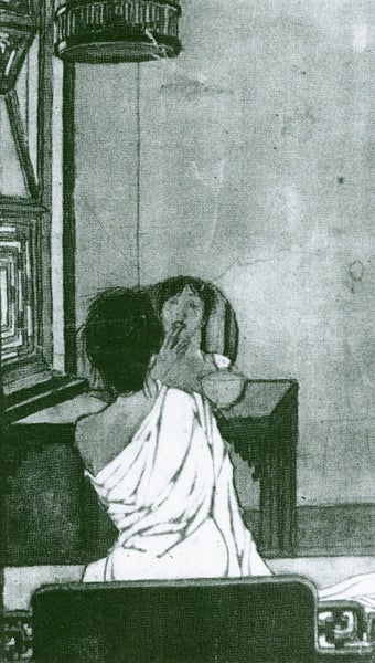 Drawing of woman in front of mirror