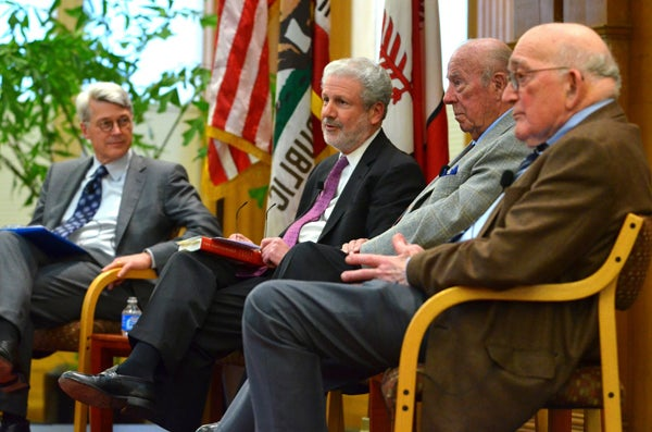 Scott Sagan, Philip Taubman, George Shultz and Sidney Drell