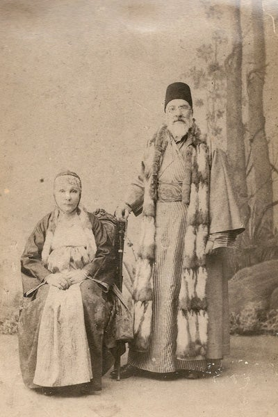 Undated studio photograph of Sa'adi Besalel a-Levi, with his second wife Esther, dressed in clothing distinctive to Salonican Jewry.