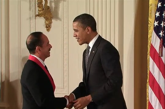 Ramon Saldivar receiving National Humanities Medal from President Obama