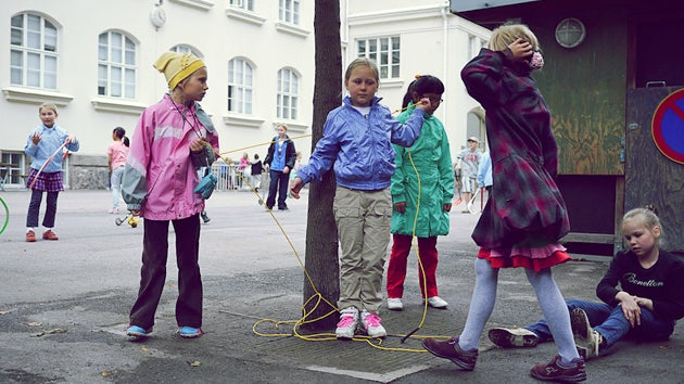 Finnish school children in playground
