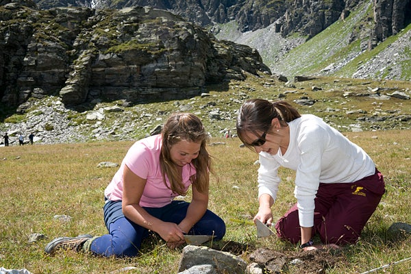 Students working in the Clapier Pass in France.