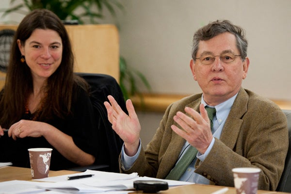 Jaclyn Maxwell and John Cooper at the Tanner lecture discussion