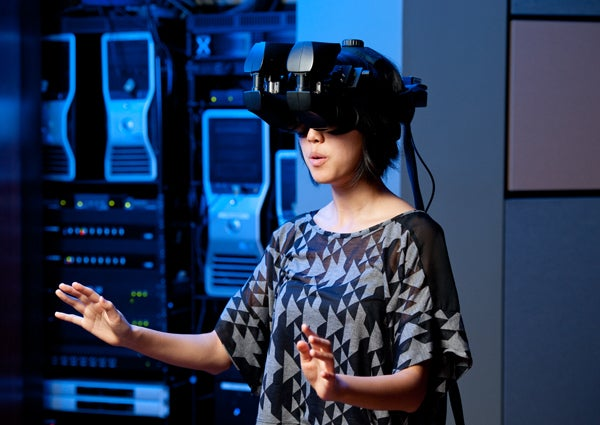 Tina Roh wearing the virtual reality apparatus.
