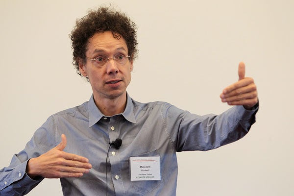 New Yorker staff writer Malcolm Gladwell gives a keynote address at the CASBS symposium.