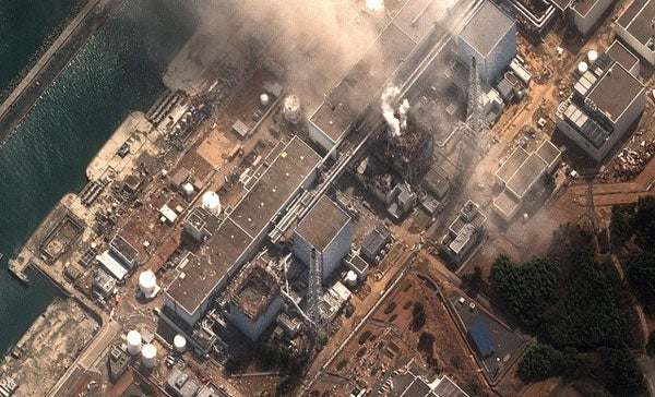 Satellite image of damage at the Fukushima Daiichi Nuclear Power Plant in Japan following the March 11, 2011, earthquake and tsunami.