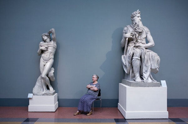 Guard with Michelangelo's 'Moses and the Dying Slave,' Pushkin State Museum of Fine Arts