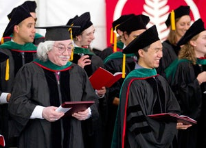 Jose Sandoval, who graduated from Stanford's medical school in 1977, walks in the procession of students.