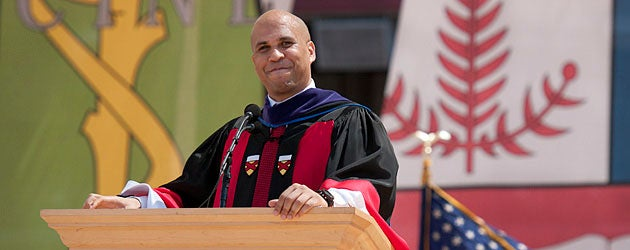 Cory Booker speaking at Commencement