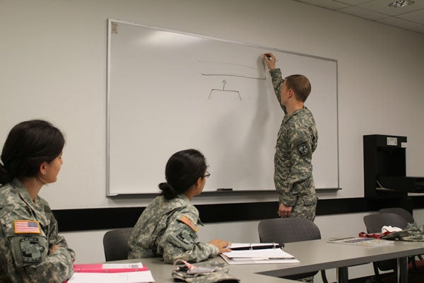 Captain Kent Keirsey instructing freshman cadets at Stanford.
