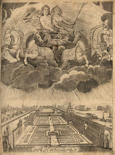 A print of the prince-elector and prince-electoress presiding over their pleasure garden in Berlin
