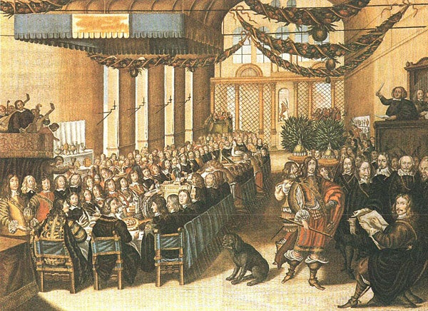 This painting depicts a Nuremberg peace banquet in 1649