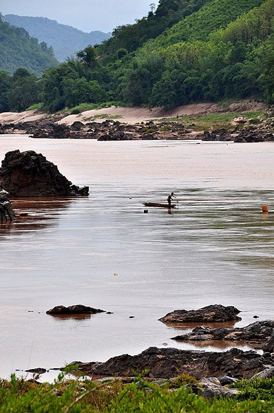A bend in the Mekong River at the site of the proposed Xayaburi Dam in the Xayaburi province of Northern Laos.
