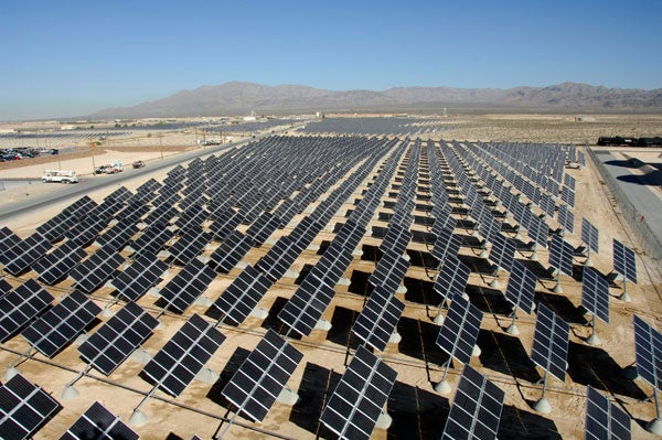 14-megawatt solar plant at Nellis Air Force Base, Nev.