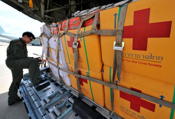 Medical supplies are loaded on a Thai air force plane bound for Myanmar.