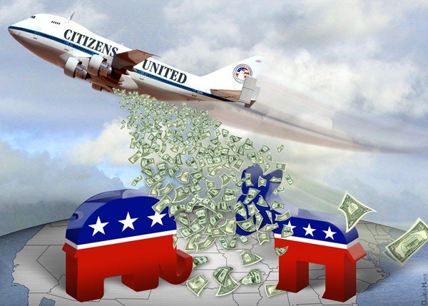 Illustration of airplane labeled 'Citizens United' dropping money over the political parties