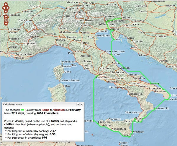 An ORBIS generated map illustrates that the most cost effective route for transporting grain from Rome to Virunum in February would cost 7.17 denarii per kilogram if using a donkey on the land portions of the journey.