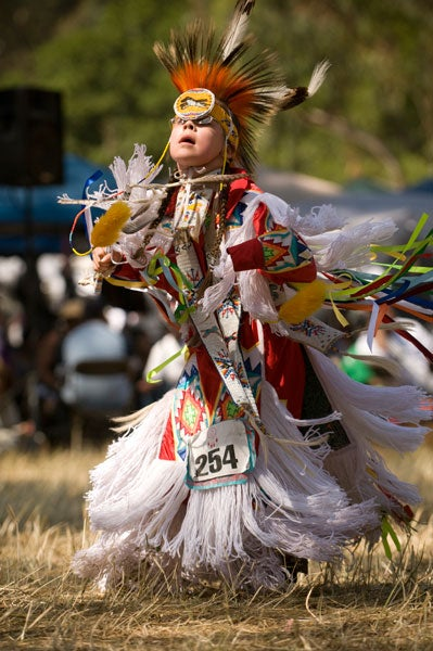 Therien Paskemin dances in the junior boys'  competition at the 2009 powwow. Photo: L.A. Cicero