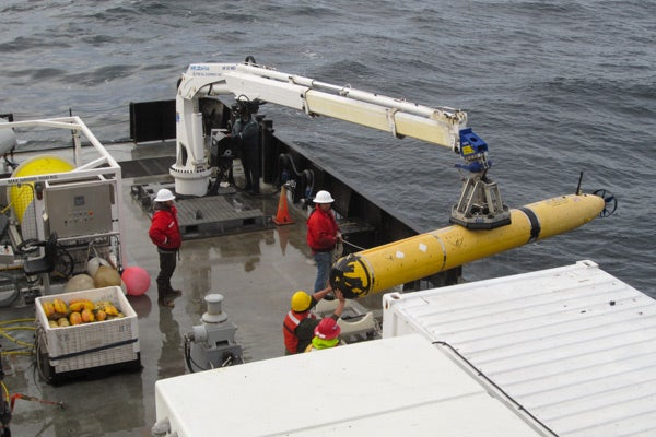 AUV being deployed from the R/V Rachel Carson