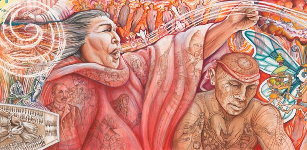 The new mural at Stanford's El Centro Chicano depicts a the legacy of Latin American and indigenous literature