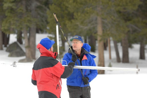 California Department of Water Resources workers measuring the snowpack
