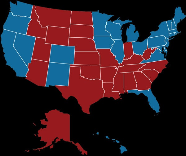Map of U.S. depicting how states voted in the 2012 presidential election