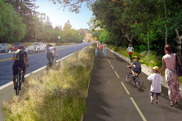 Artist's rendering of proposed pedestrian and bicycle trails on Stanford Avenue.