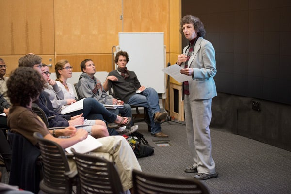 Senior Lecturer Linda Hess teaching her course on religious perspectives on war and peace.