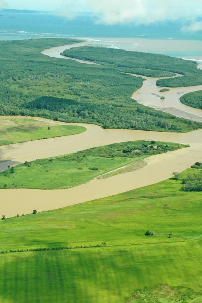The proposed airport site includes an expanse of waterways.