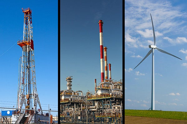 Compilation that includes images of natural gas, oil and wind production