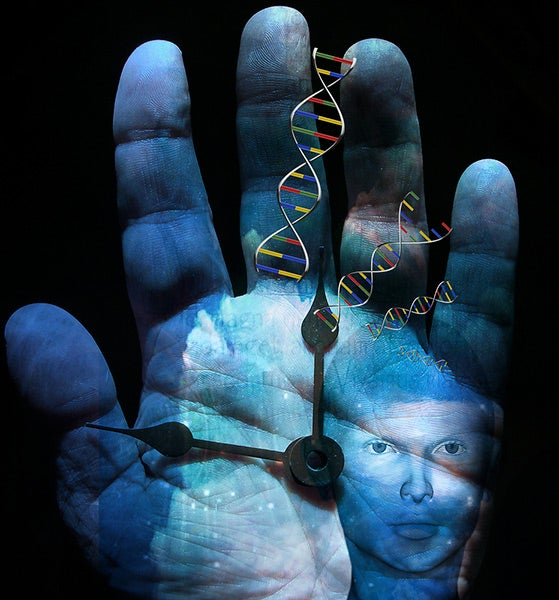 Illustration collage of hand, clock, DNA and human depicting evolution