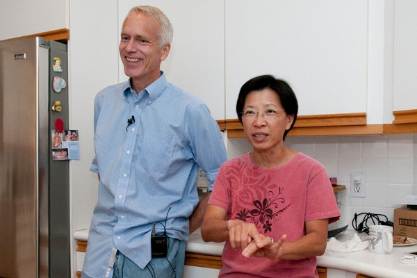 Nobel Prize winner Brian Kobilka and his wife, Tong Sun Kobilka, at their home this morning.