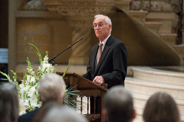 Rev. Robert Gregg at podium in Memorial Church