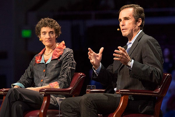 Panelists Carla Shatz and Bob Woodruff