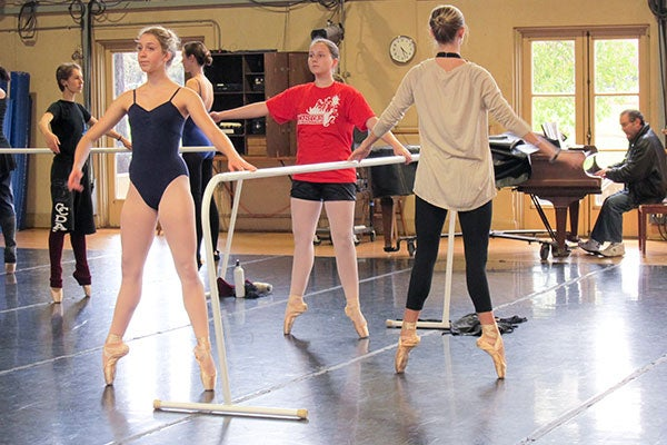 Young female ballet dancers