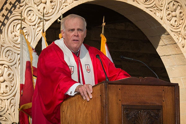 John Hennessy speaking at Convocation