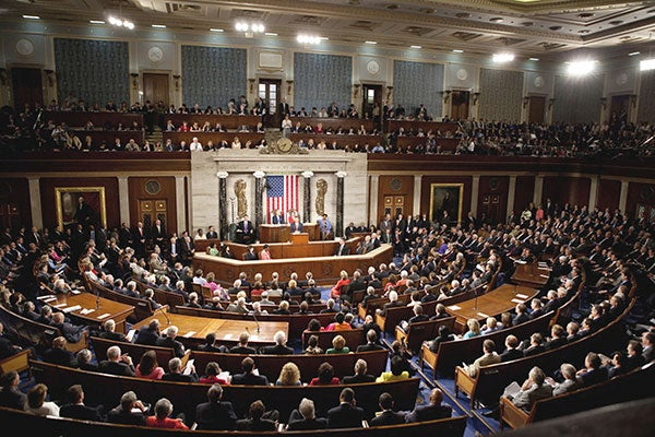 President Obama delivering an address to a joint session of Congress at the U.S. Capitol